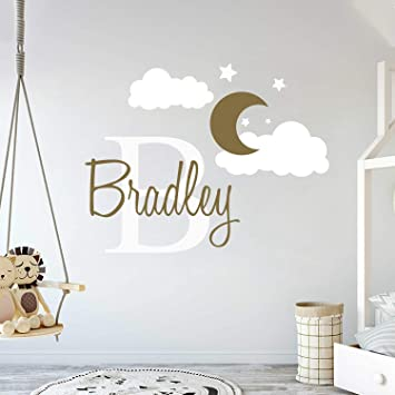 Custom Name & Initial Moon Clouds Stars - Baby Boy - Nursery Wall Decal for  Baby Room Decorations - Mural Wall Decal Sticker for Home Children\'s ...