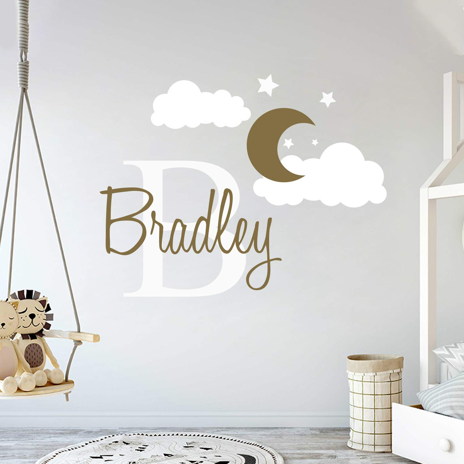 Custom Name & Initial Moon Clouds Stars - Baby Boy - Nursery Wall Decal For Baby Room Decorations - Mural Wall Decal Sticker For Home Children's Bedroom (MM109) (Wide 42'' x 32'' Height)