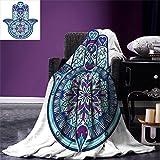 smallbeefly Hamsa Digital Printing Blanket Eastern Culture Belief Turkish Spiritual Symbol in Retro Arabian Style Summer Quilt Comforter Blue Light Blue Purple
