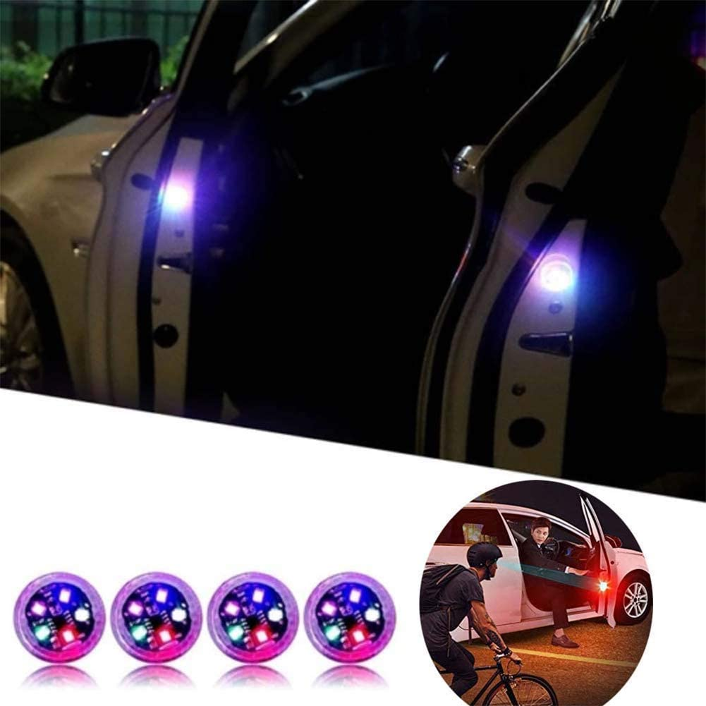 4PCS Universal Wireless Car Opening Door Singal Lights LED Safety Lamps Styling Strobe Magnetic Wireless Flashing Anti Collision Signal Auto On//Off with 3 Flashing Modes 3 Lights Blue