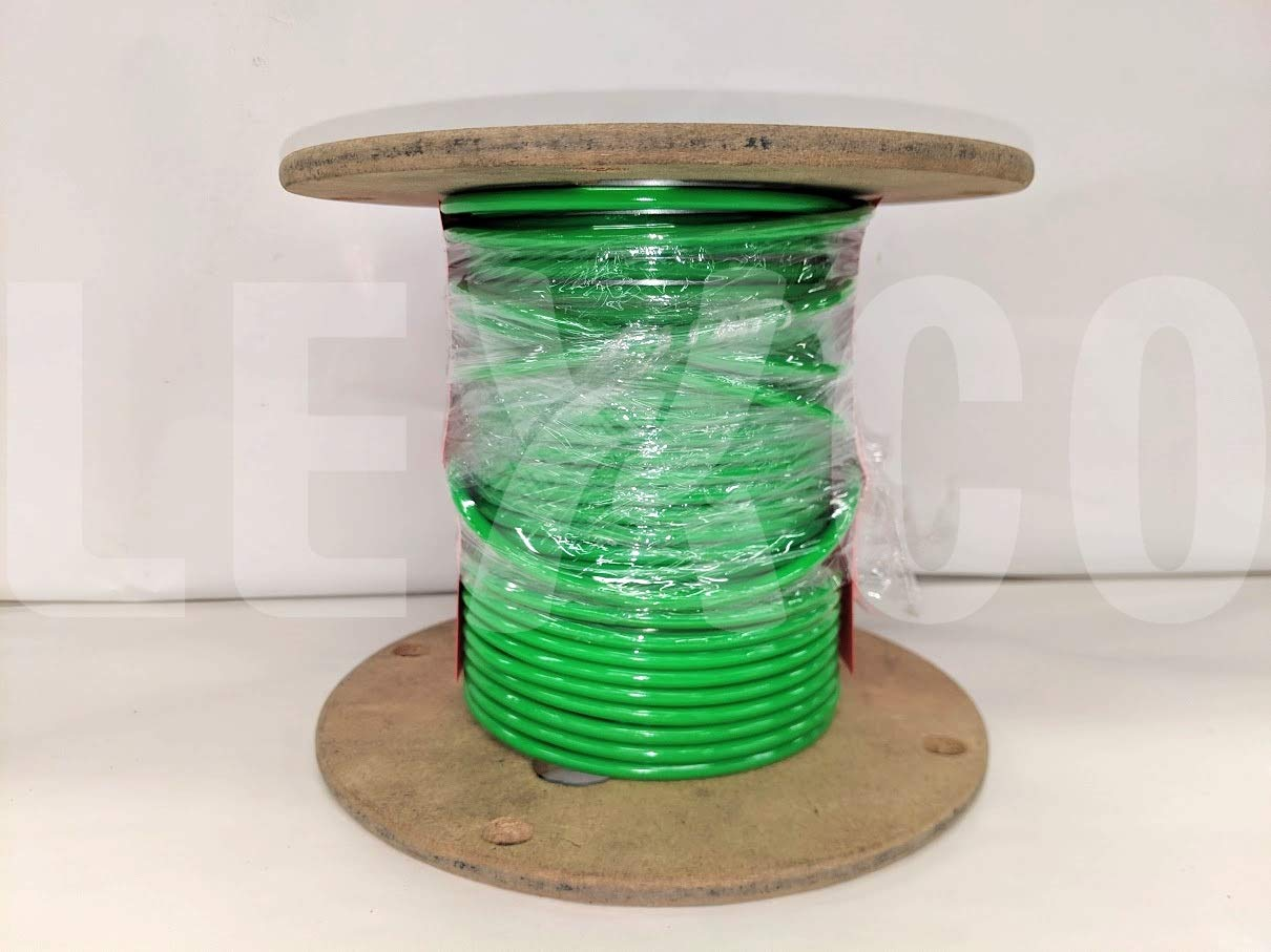 Lexco Cable 116718CCNG 250' Spool of 1/8'' Neon Green PVC Coated 1/16'' 7x7 Galvanized Wire Rope by Lexco Cable