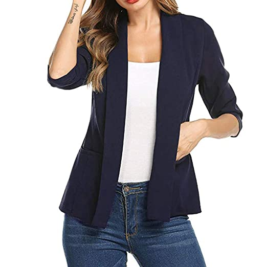Sinaru Tops Women 3 4 Sleeve Blazer Open Front Suit Jacket Work