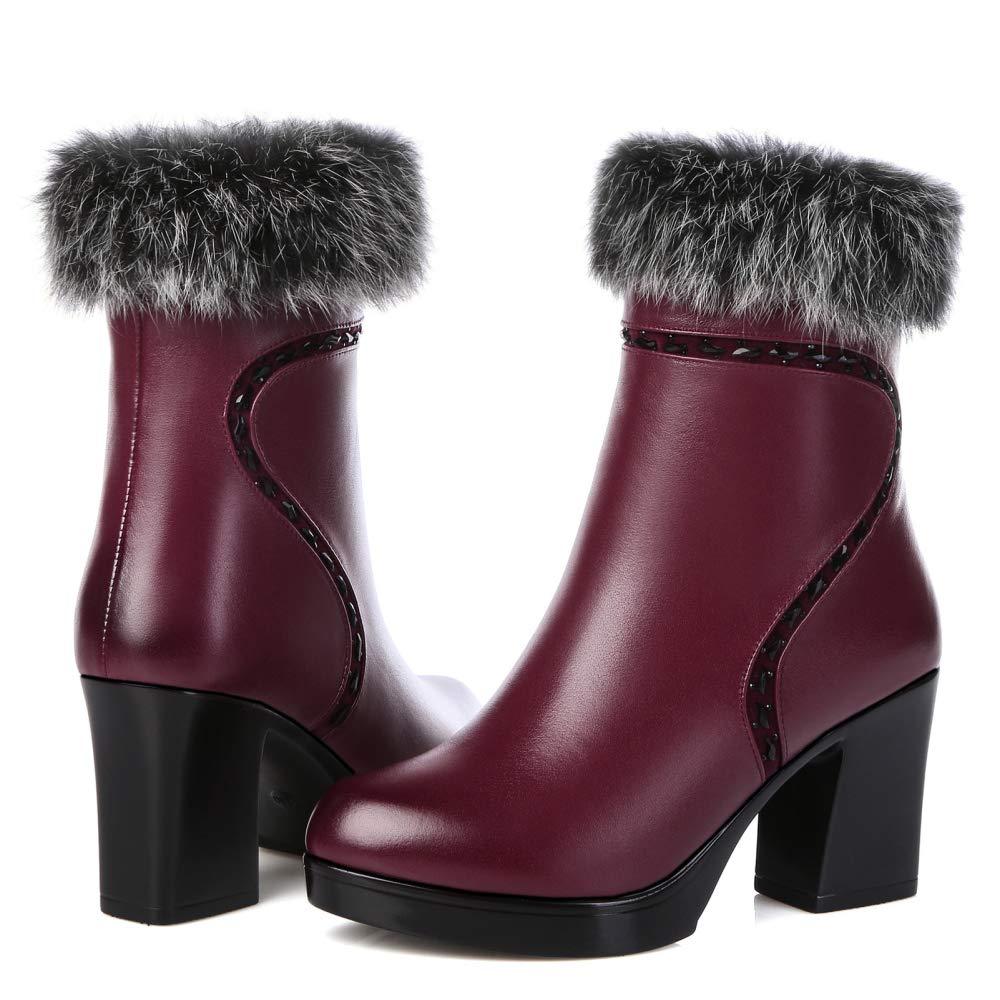 Mittlere Block-Ferse-Knöchel-Aufladungs-Schuhe Der Damen-Frauen Damen-Frauen Damen-Frauen Leder-Warmer Kunstpelz-Futter-Winter-Reißverschluss-Art-Stiefelies cda258