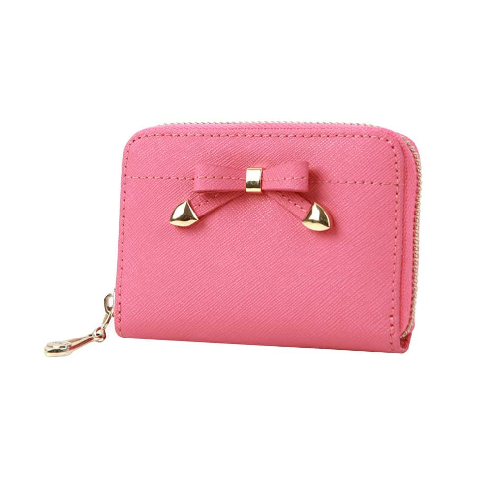 Womens Ribbon Zip Around Genuine Leather Credit Card Case Organizer Compact Wallet Purse Pink