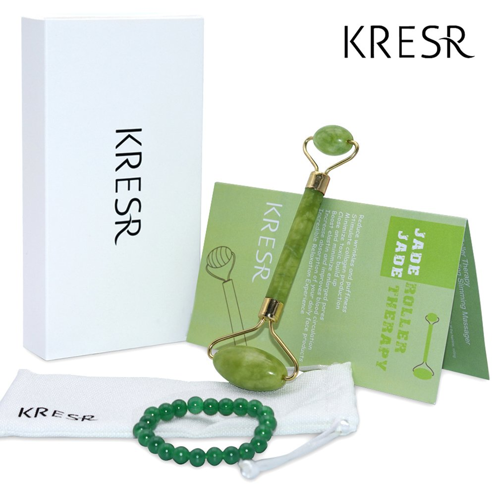 KRESR Jade Roller, Anti Aging Wrinkle Skin Care for Face Body - New 2018 100% Natural Jade Stone Facial Roller Double Neck Healing Slimming Massager