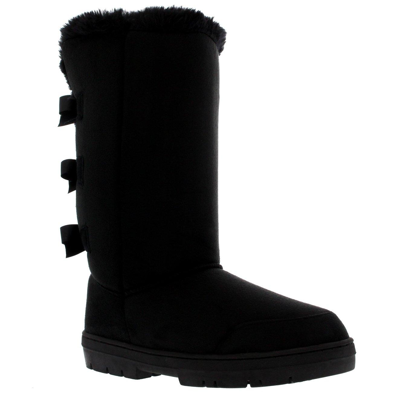 Holly Womens Triplet Bow Tall Classic Waterproof Winter Rain Snow Boots - Black - 9 - BLA40 AEA0230