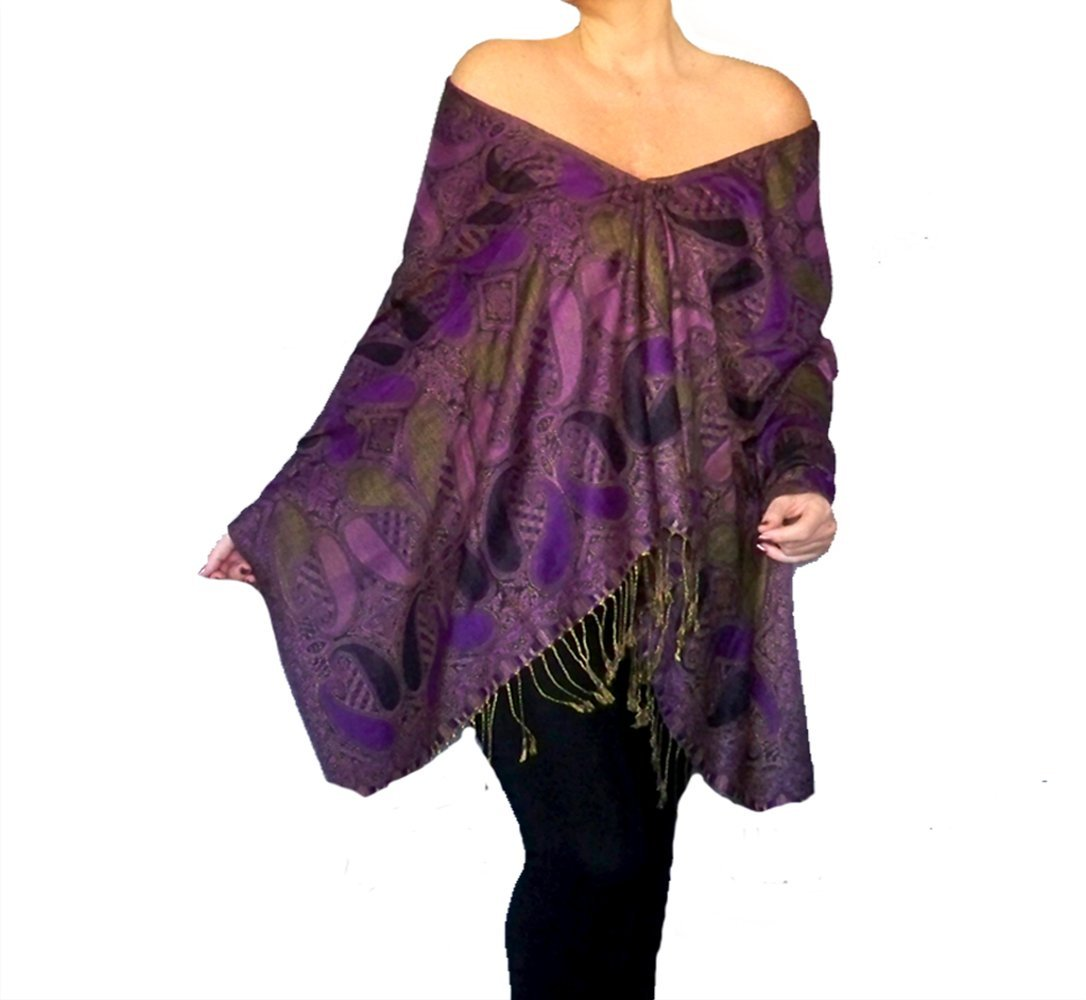 Plus Size Purple Shawl Black Pashmina Poncho Top By ZiiCi