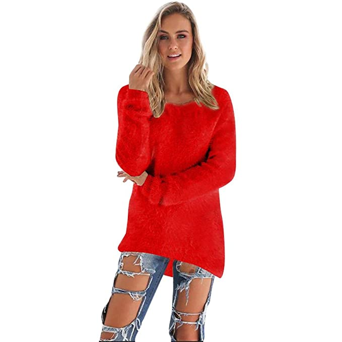 K-youth® Mujer Sudaderas Invierno Suelto Suéter Manga Larga Jersey De Punto Tops (
