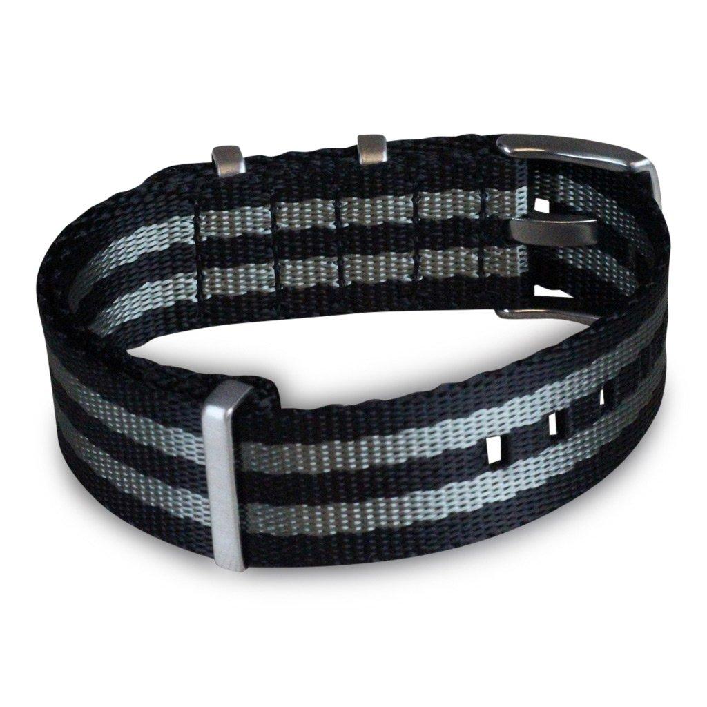 AlphaShark by BluShark Luxury Seat Belt Nylon Watch Strap - 22mm Bond Black/Gray by BluShark (Image #3)