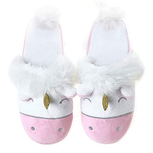 63317764767a Unicorn Plush Slippers Women Animal Cartoon Comfy Cute Warm Lightweight Home  Indoor Pink 5.5-6.5