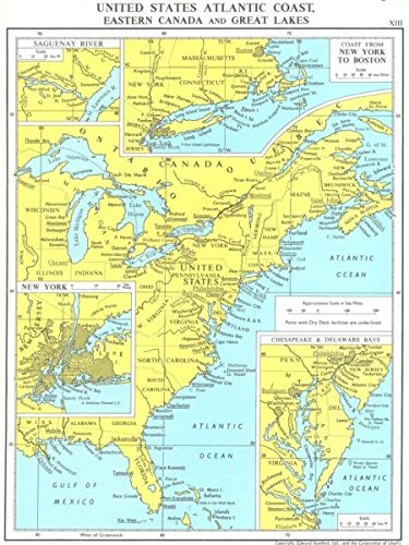 Amazoncom Us Atlantic Coast Canada Gt Lakes Chesapeake De Bay New - Map-of-us-atlantic-coast