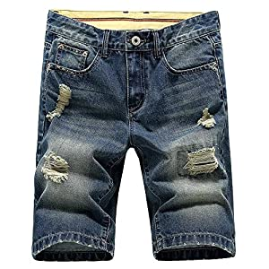 LATUD Men's Casual Denim Shorts (No Belt)