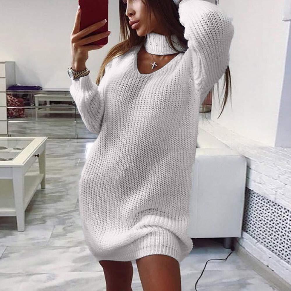 Inverlee Womens Ladies Long Sleeve Chunky Knitted Dress Roll Neck Jumper Dress Mini Dress