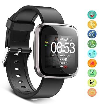 Seneo Reloj Inteligente Hombre, Reloj de Seguimiento de Actividad, Podómetro Deportivo con Monitor de Ritmo Cardíaco Monitor de Sueño para Teléfonos ...