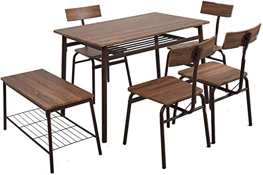 Dporticus 6-Piece Kitchen & Dining Room Sets -1 Table, 4 Chairs & 1 Bench  Rustic Industrial Style - Brown