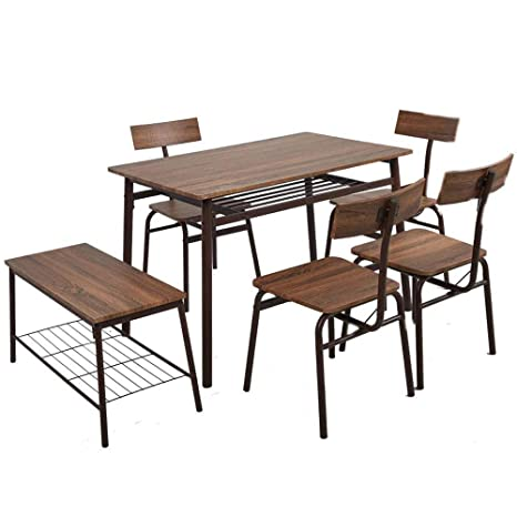 Magnificent Dporticus 6 Piece Kitchen Dining Room Sets 1 Table 4 Chairs 1 Bench Rustic Industrial Style Brown Home Remodeling Inspirations Cosmcuboardxyz