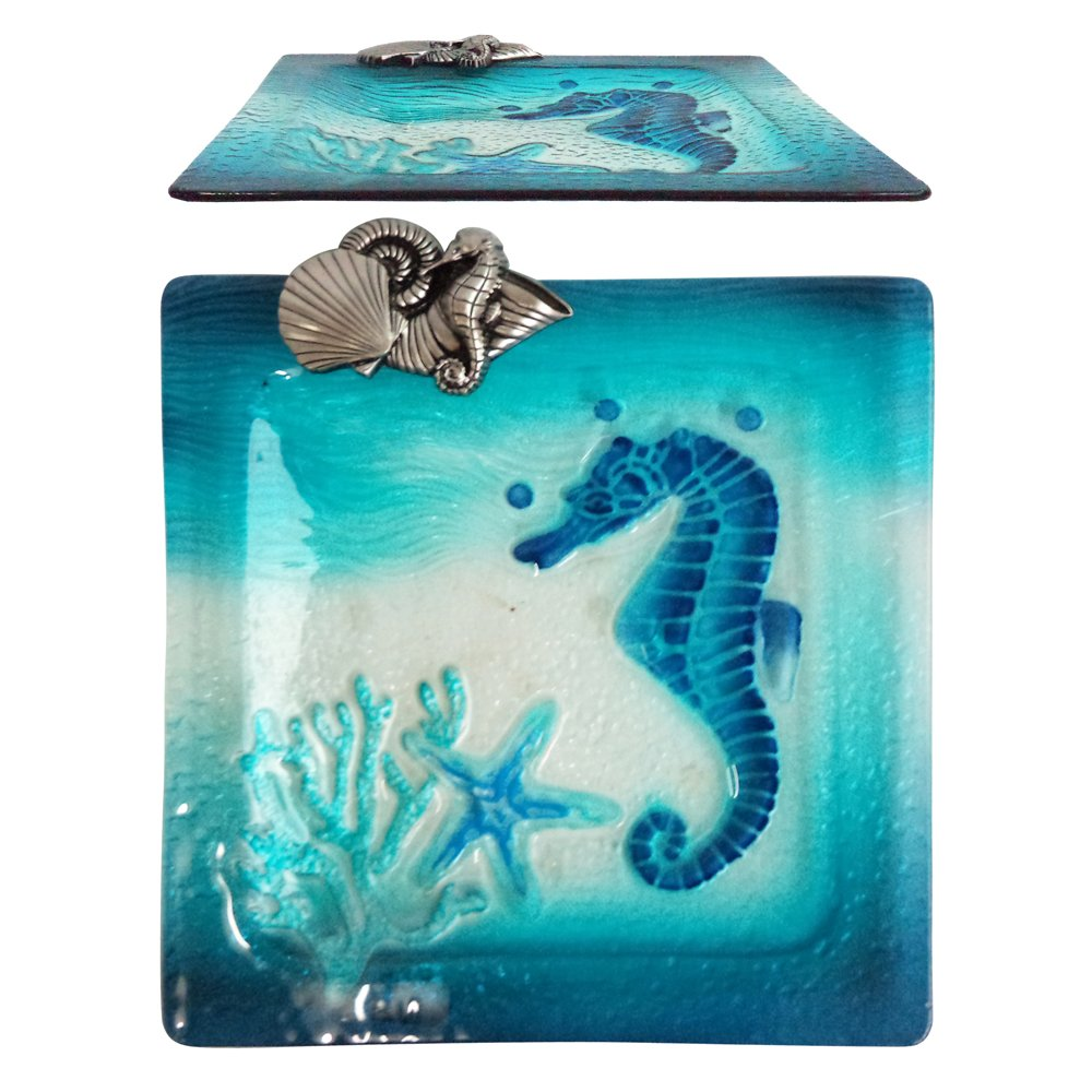 Comfy Hour 11'' Decorative Ocean Coastal Seahorse Starfish Coral Sea Snail Conch Square Glass Plate, Dishwasher Safe, Blue And Silvery
