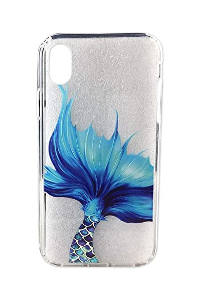 save off 32475 2875b Ftonglogy Compatible with iPhone XR Case, Slim Shockproof Clear Blue  Mermaid Scale Pattern Soft Flexible TPU Back Cover for iPhone XR 6.1 Inch  (2018) ...