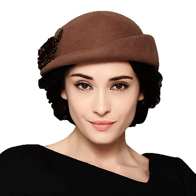 Vintage Inspired Halloween Costumes Flower Wool Beret Cap $35.30 AT vintagedancer.com