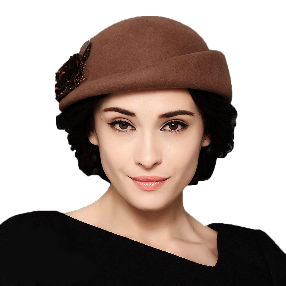 Maitose&Trade; Women's Lace Flower Wool Beret Cap Camel by Maitose (Image #1)