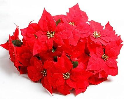 Amazon lopkey 2pcs christmas flower 5 head poinsettia bouquet lopkey 2pcs christmas flower 5 head poinsettia bouquet planter bunches red mightylinksfo