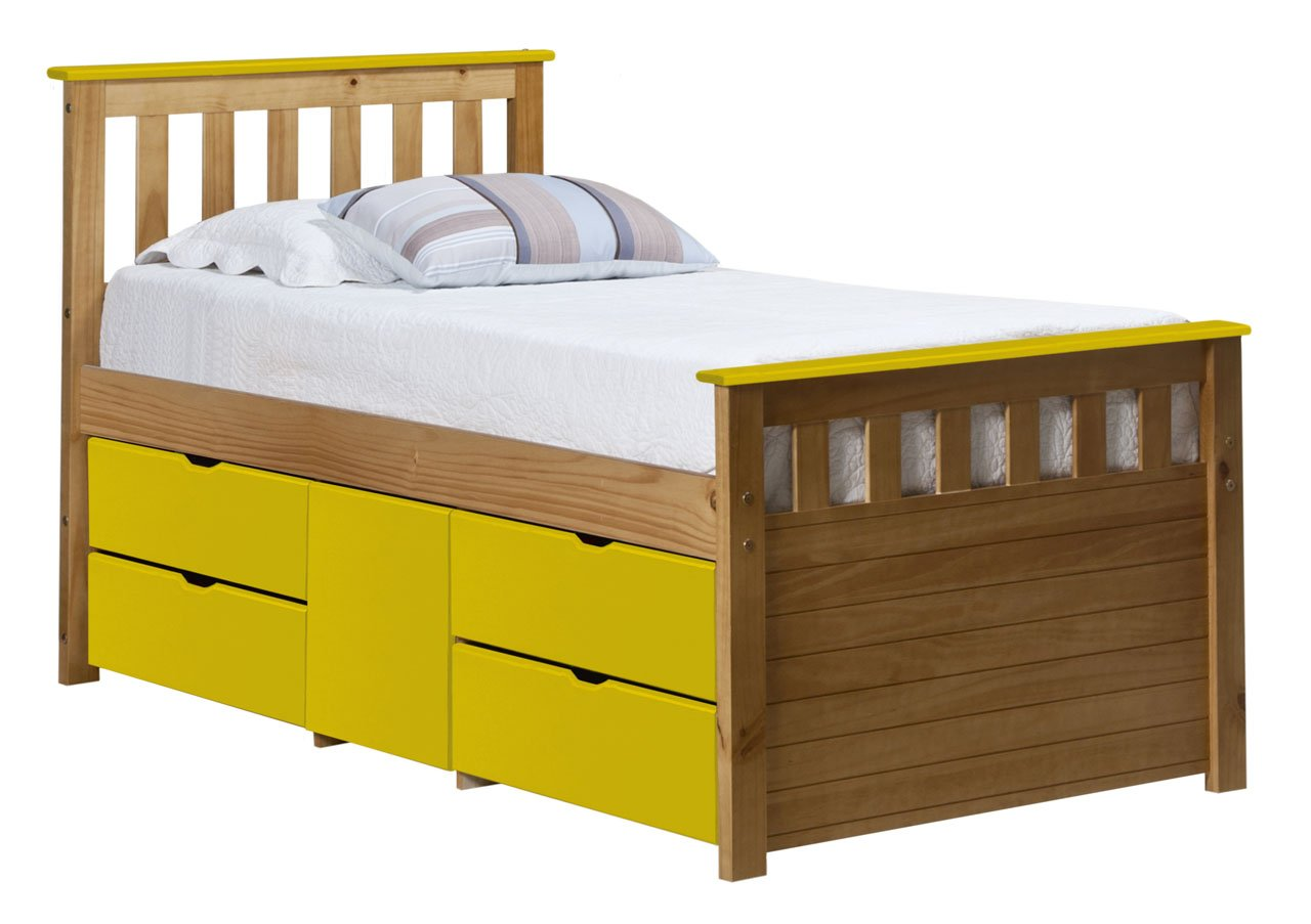 Design Vicenza Captains Ferrara Aufbewahrung Bett lang 3 Ft Antik mit Lime Details