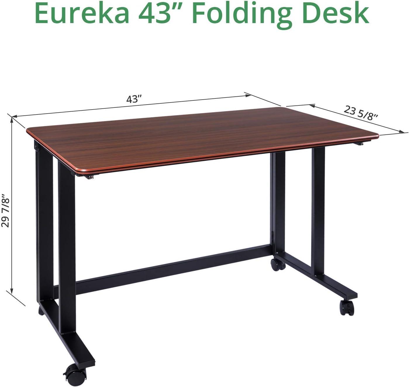 ciliegia Eureka ergonomico pieghevole da scrivania con ruote da 109,2/cm