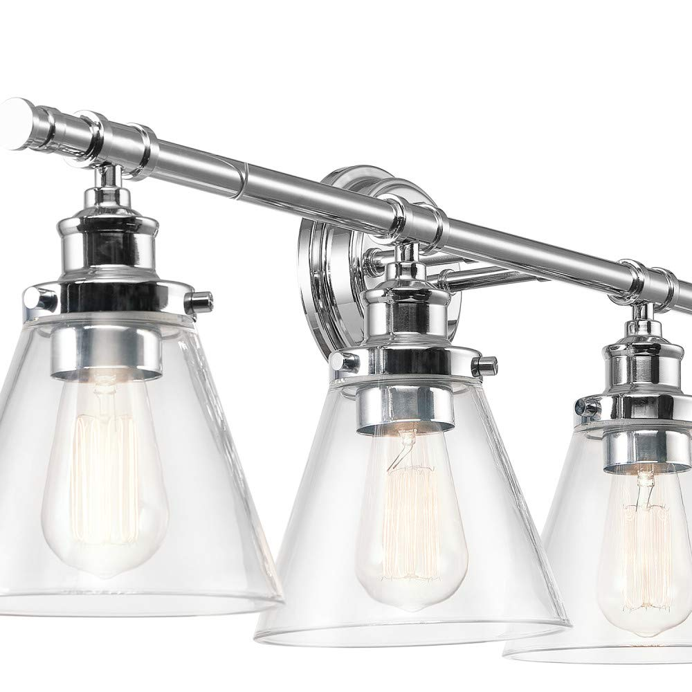 Globe Electric 51446 Parker 4-Light Vanity Light, Chrome with Frosted Glass Shades by Globe Electric (Image #2)