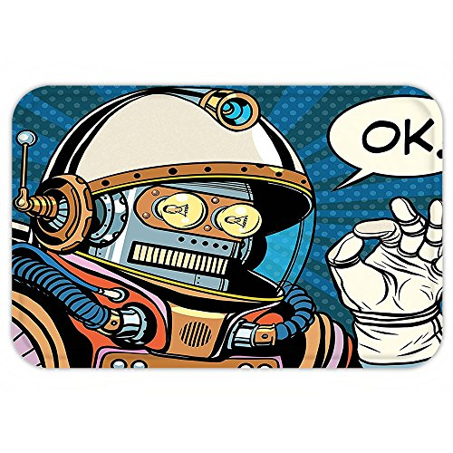 Futuristic Space Suit Costume (VROSELV Custom Door MatModern Decor Futuristic ComicSuper HeroLike Robot in a Spacesuit with OK Quote Artwork Multicolor)