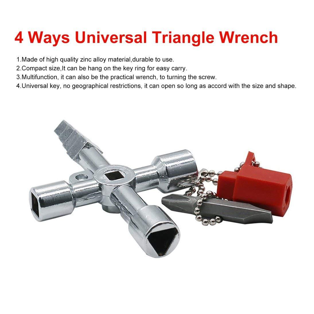 WEIHAN 4 formas Llave triangular universal Llave multifunci/ón Llave triangular Llave triangular para gabinetes de medidores el/éctricos de gas Radiadores de purga Plata