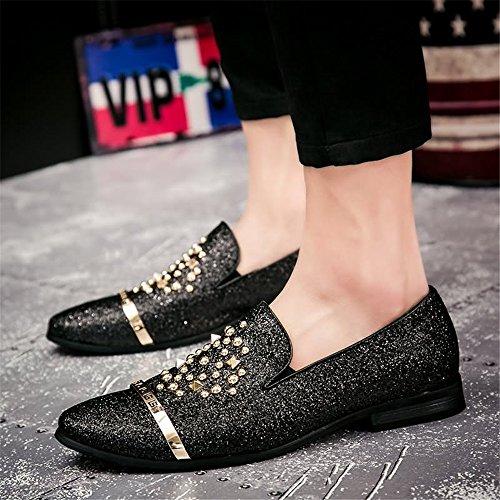 uomo Baffi EU Fang lacci 2018 di shoes Dimensione Nero scintillanti 41 e britannica da Nero con Color scarpe Primavera moda Estate casual 0RI0q