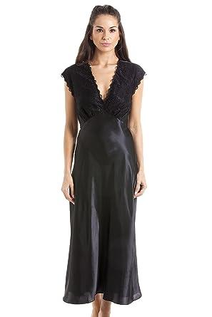 6c59c488f1 Camille Womens Ladies Luxury Long Black Lace Satin Chemise 10 12   Amazon.co.uk  Clothing