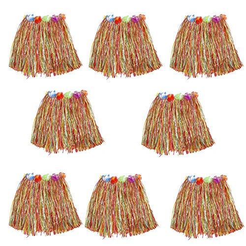 HLJgift Kid's Flowered Luau Hula Skirts Pack of 8 (Colorful)