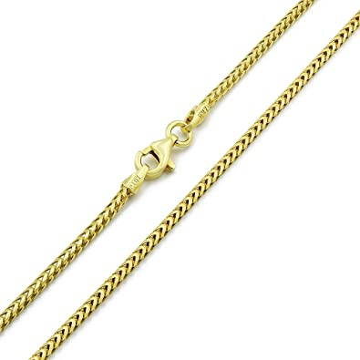 Yellow Gold Finish Diamond Cut Franco Chain Necklace Real Sterling Silver 3mm