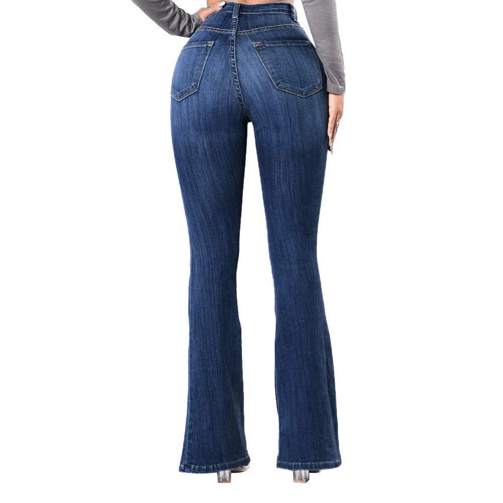 Pantalons Jeans évasé Femme Taille Haute Chic, Koly Jeans Femme Slim fit Stretch Bleu rétro Pantalons Moulant 2018 Automne Hiver Dames Trousers Pants Skinny