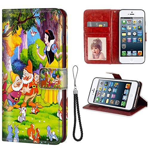 DISNEY COLLECTION Wallet Case with Card Holder for iPhone 5S SE 5 [5.5 Inch] Snow White Wallpapers Good-Looking (Best Wallpaper For Iphone 5 White)