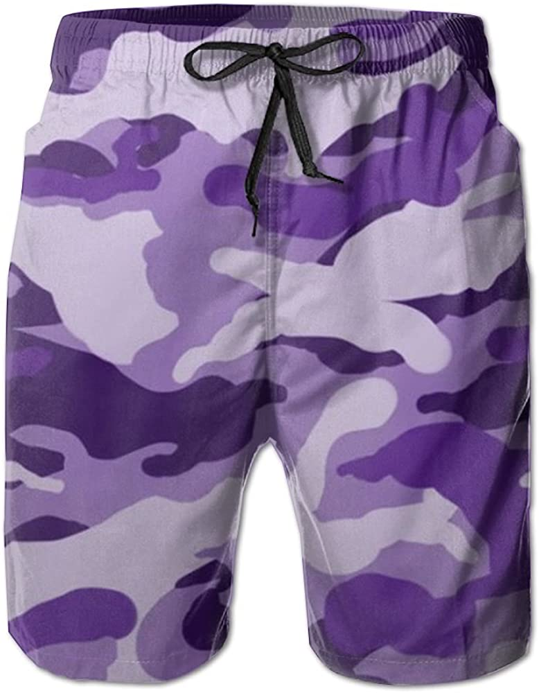 Mens Color Camouflage Summer Holiday Quick-Drying Swim Trunks Beach Shorts Board Shorts