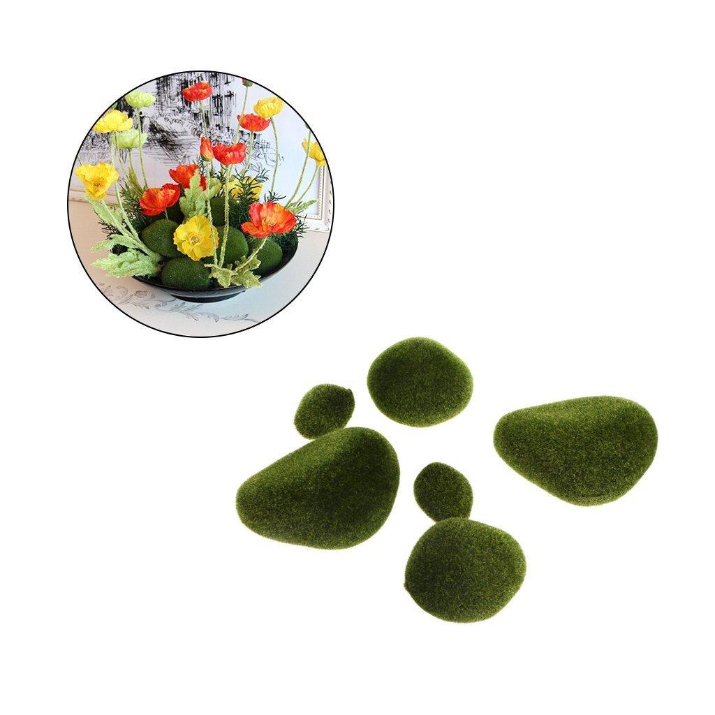 5pcs Green Artificial Moss Stones Grass Plant Poted Home Garden Decor Landscape