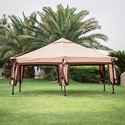 Kinbor 11.8'x 10.2' Outdoor Patio Iron Hexagon Gazebo Canopy Garden Backyard Tent : Garden & Outdoor