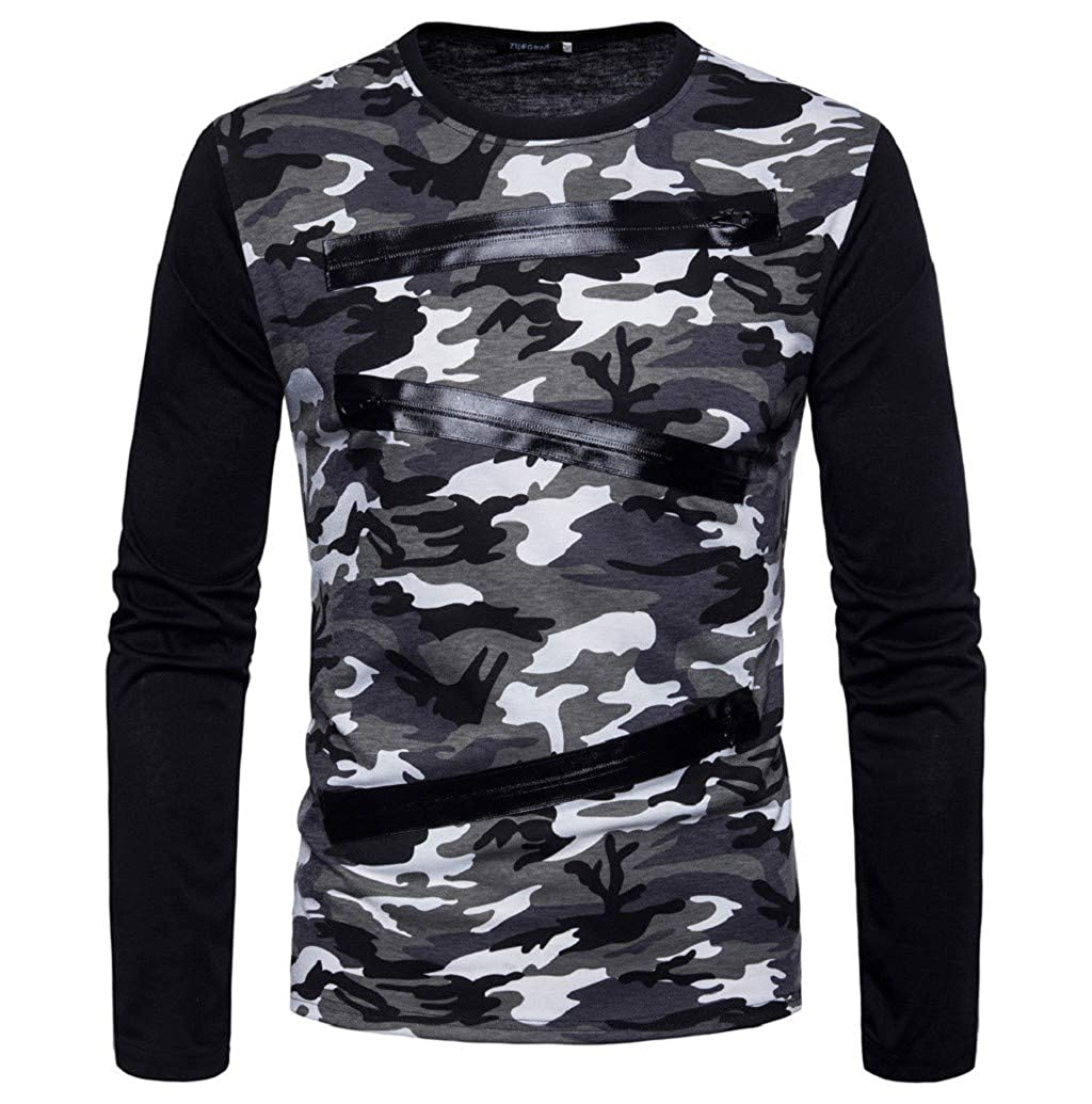 Sweatshirt Homme,LONUPAZZ T-Shirt à Manches Longues Col Rond Imprimé Camouflage Casual Slim Homme Pull