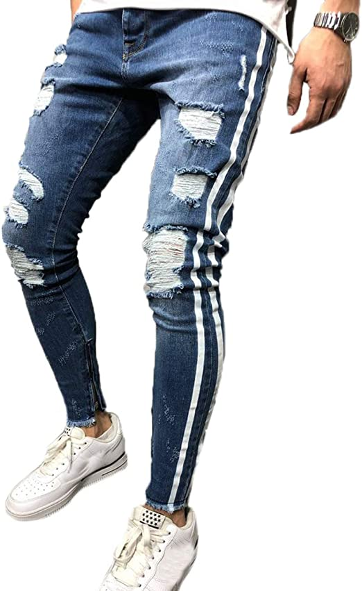 Beloved Mens Ripped Knee Skinny Denim Jeans Holes Slim Fit Stretch Pencil Pants