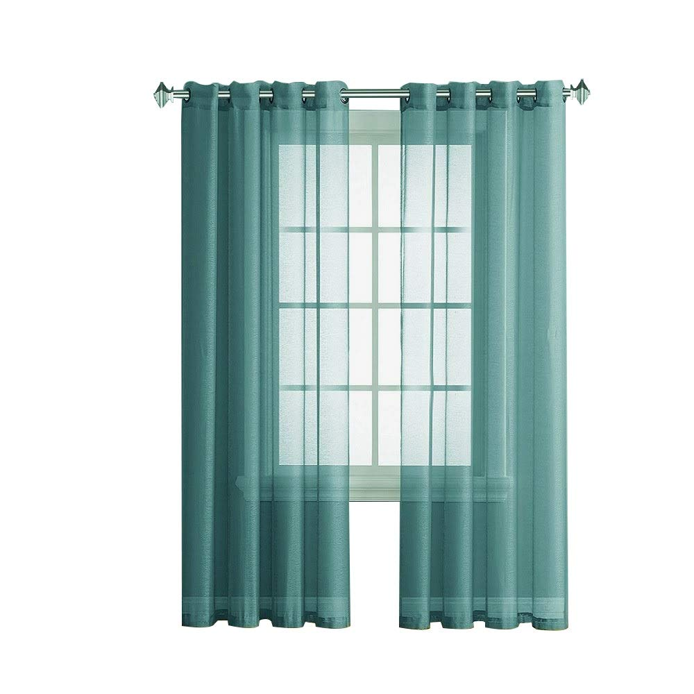 Warm Home Designs Pair of 2 Long Size 54'' (Width) x 108'' (Length) Sea Green (Green Teal) Sheer Window Curtains. 2 Elegant Voile Panel Drapes are 108 Inch Wide Total - K Sea Green 108''