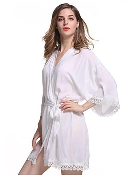 d7ab9b4e2f Crissiste Sleepwear New Solid Cotton Kimono Robes with Lace Trim Women  Wedding Bridal Robe Short Belt Bathrobe at Amazon Women s Clothing store