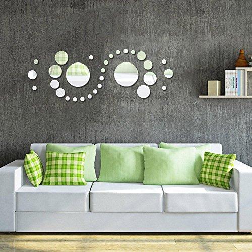 Soledi (Pack of 30) New Cute Plastic Silver Polka Dot Mirror Wall Stickers Home Art Room Bedroom DIY>