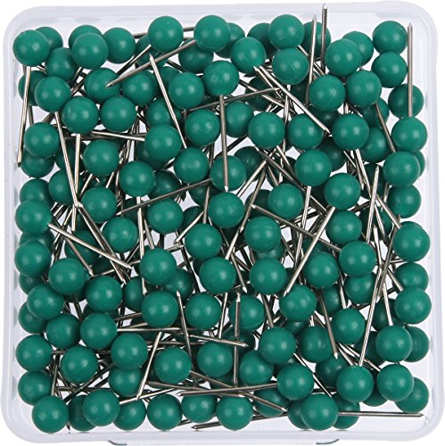 AnMiao Star 1/8 Inch Map Tacks, Push Pins, Plastic Round Head, Steel Point, 100-Count, Green Colors ()