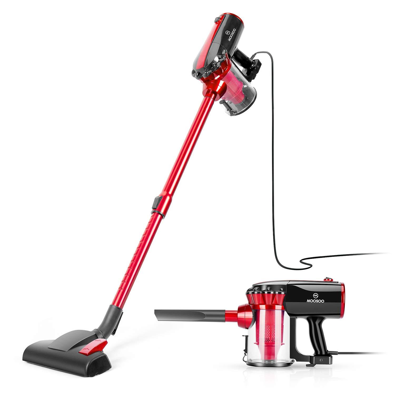 MOOSOO Vacuum Cleaner Corded Stick Vacuum with HEPA Filter 17Kpa Powerful Suction 2 in 1 Handheld Vacuum for Hard Floor D600