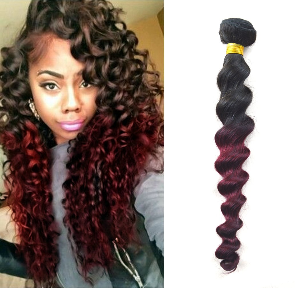 Amazon Babe Hair Red Ombre Curly Wave Bundle 10 30 Brazilian