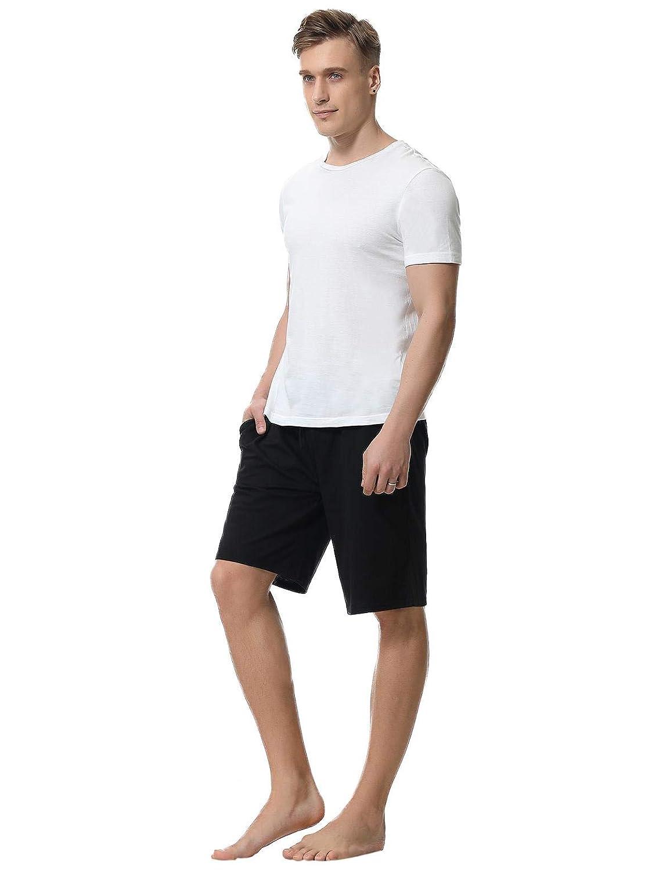 Abollria Herren Schlafanzughose Kurz Pyjamahose Bermuda Baumwolle Nachtw/äsche Sleep Hose Sporthose Freizeithose Jogging Hose Traininghose Hausanzug Remix Basic