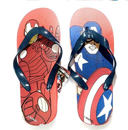 takestop® Flip Flops Avengers Marvel Iron Man Captain America Superheld Anzahl 32Flip Flop Kinds Kinder Sandalen Badeschuhe Meer Muster