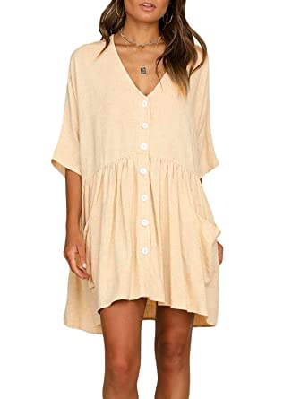 3bcec6bd4406 Happy Sailed Women Button Down Short Sleeve Tunic Dress V Neck Loose Caual  Swing Shift Dresses